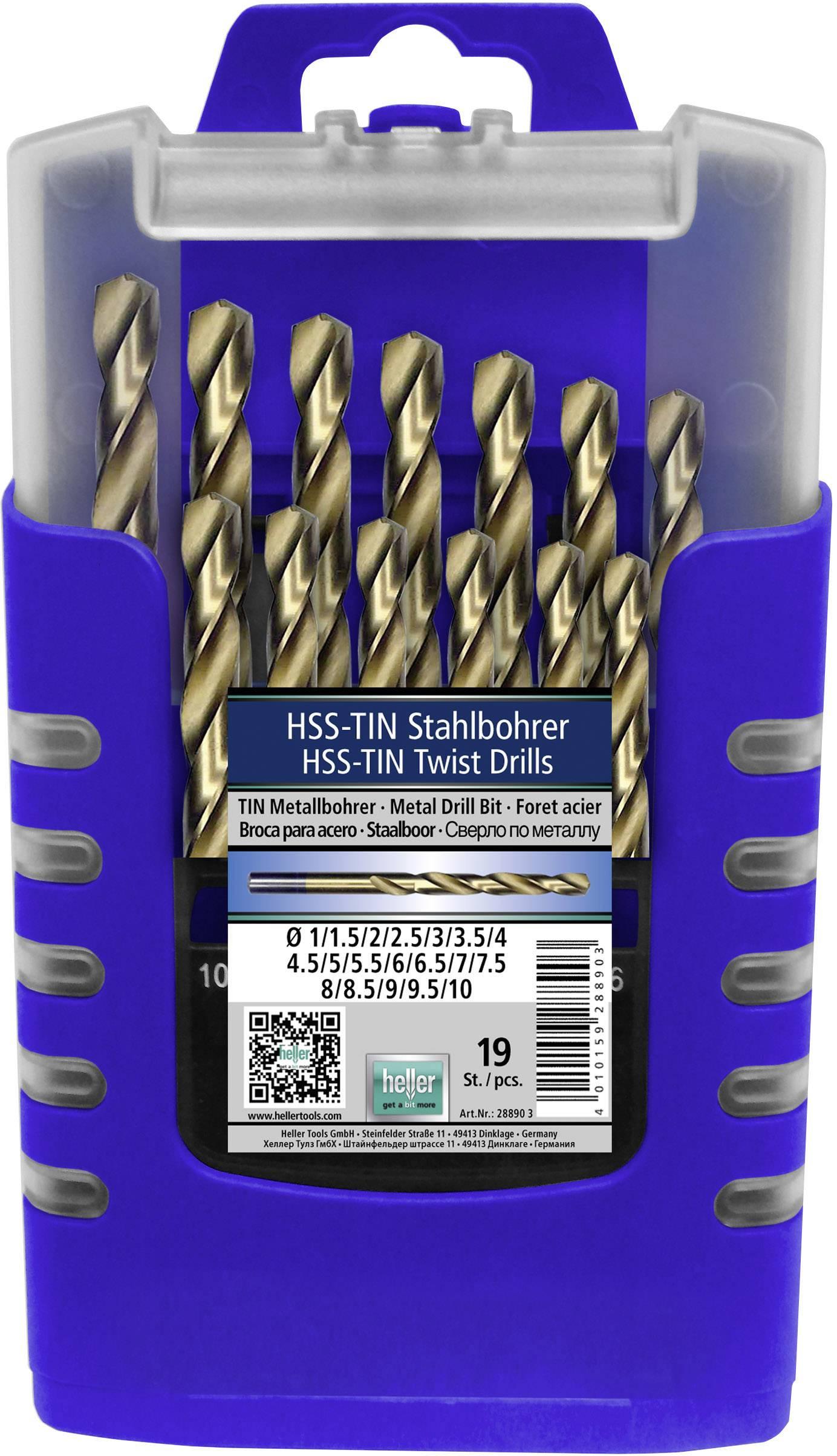 Sada spirálových vrtáku do kovu Heller 28890 3, N/A, HSS, 1 ks