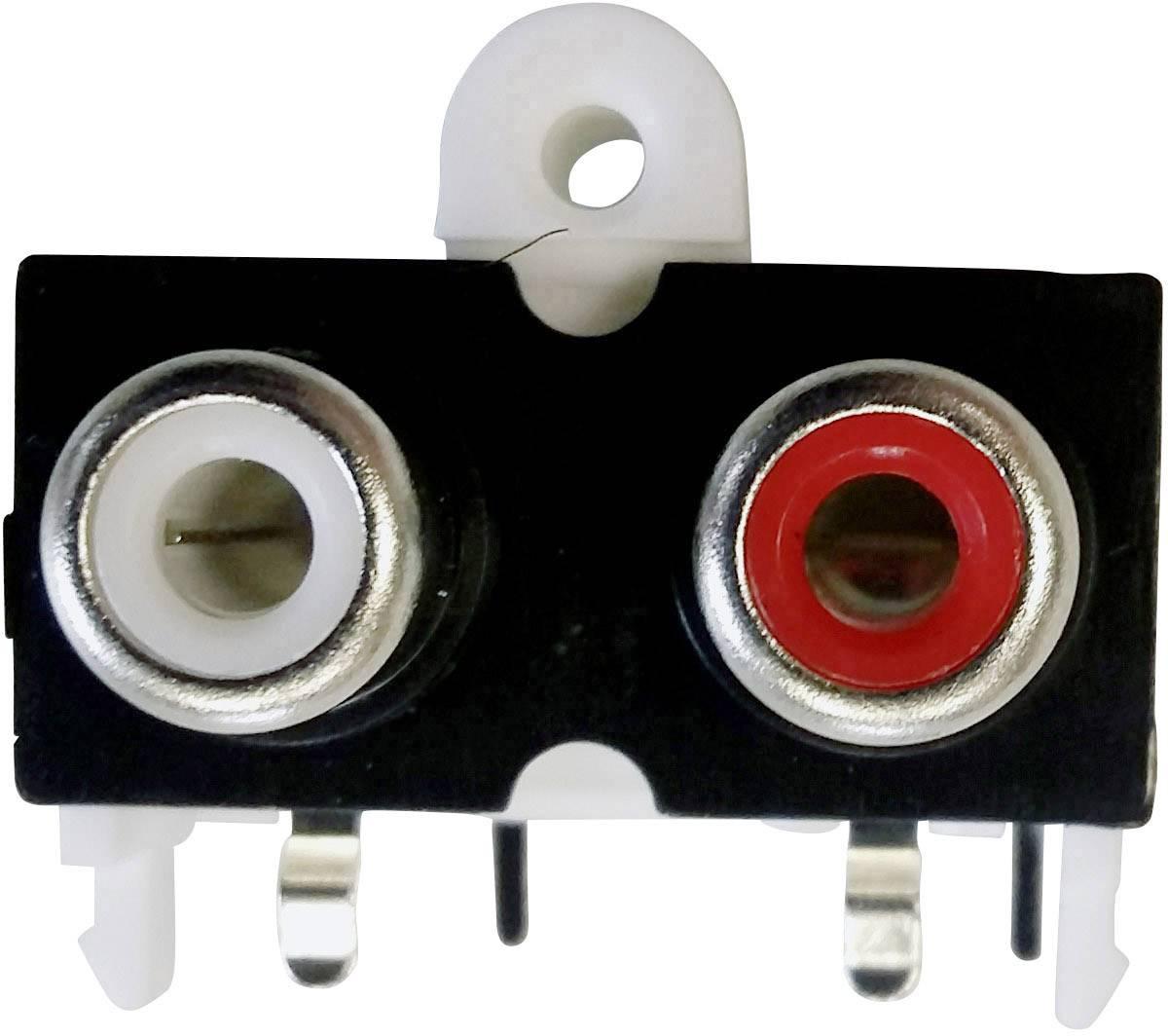 Cinch konektor zásuvka, vstavateľná horizontálna BKL Electronic 72382, počet pinov: 2, zlatá, červená, biela, 1 ks
