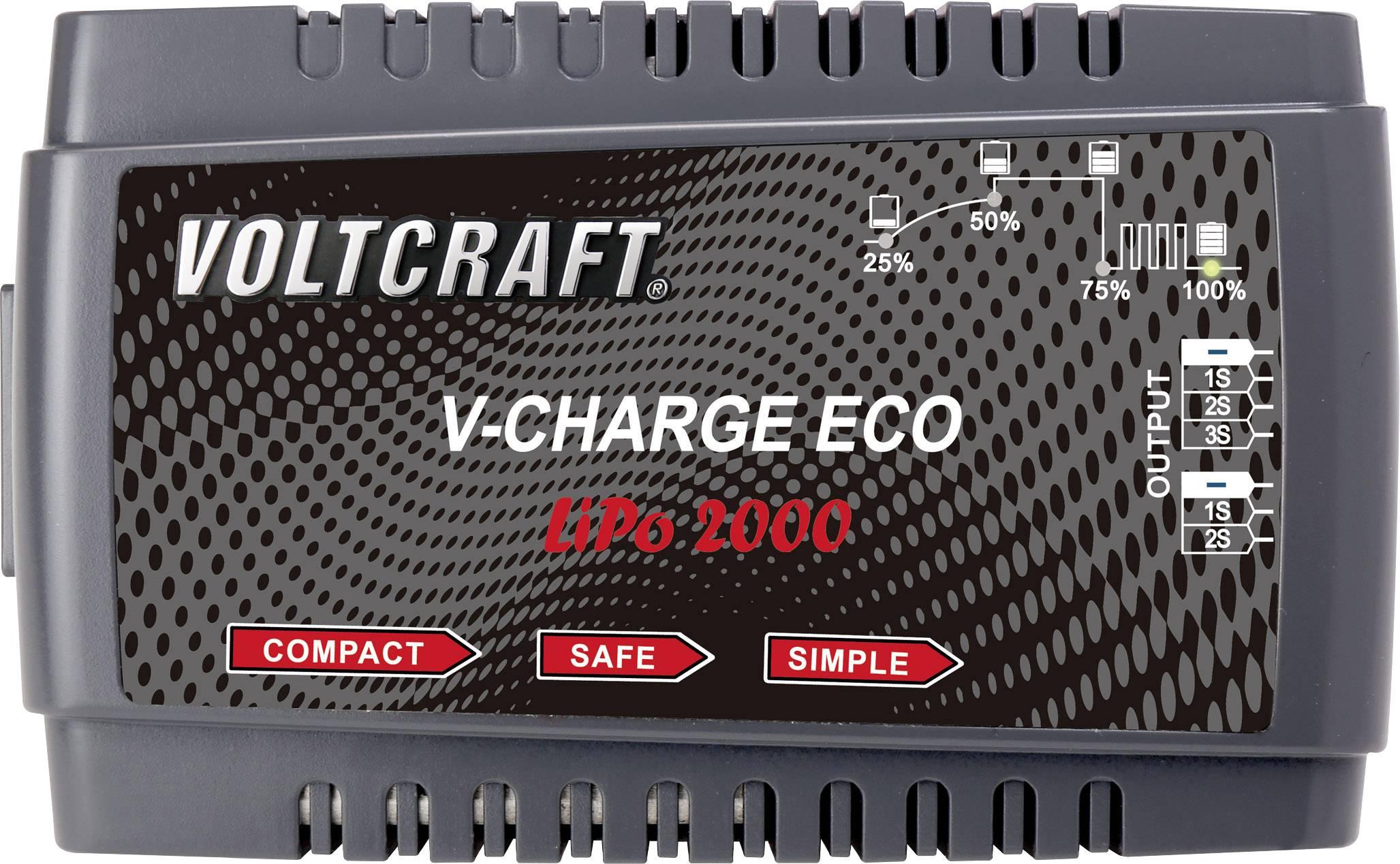 Modelárska nabíjačka Li-Pol Voltcraft V-Charge Eco LiPo 2000, 230 V, 2 A