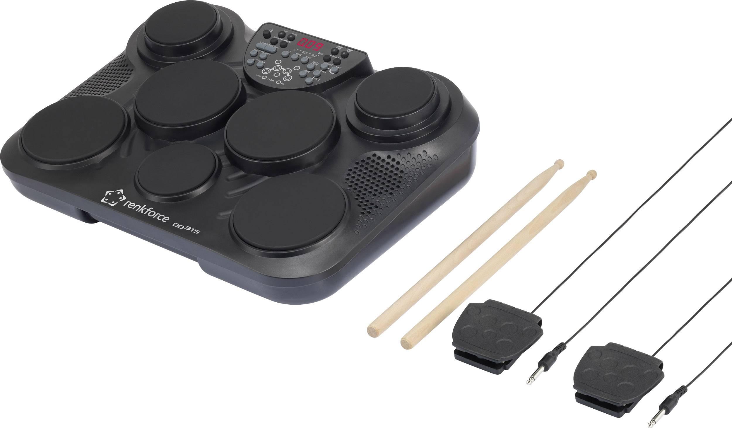 Elektronické bicí Renkforce DD-315, paličky a pedály