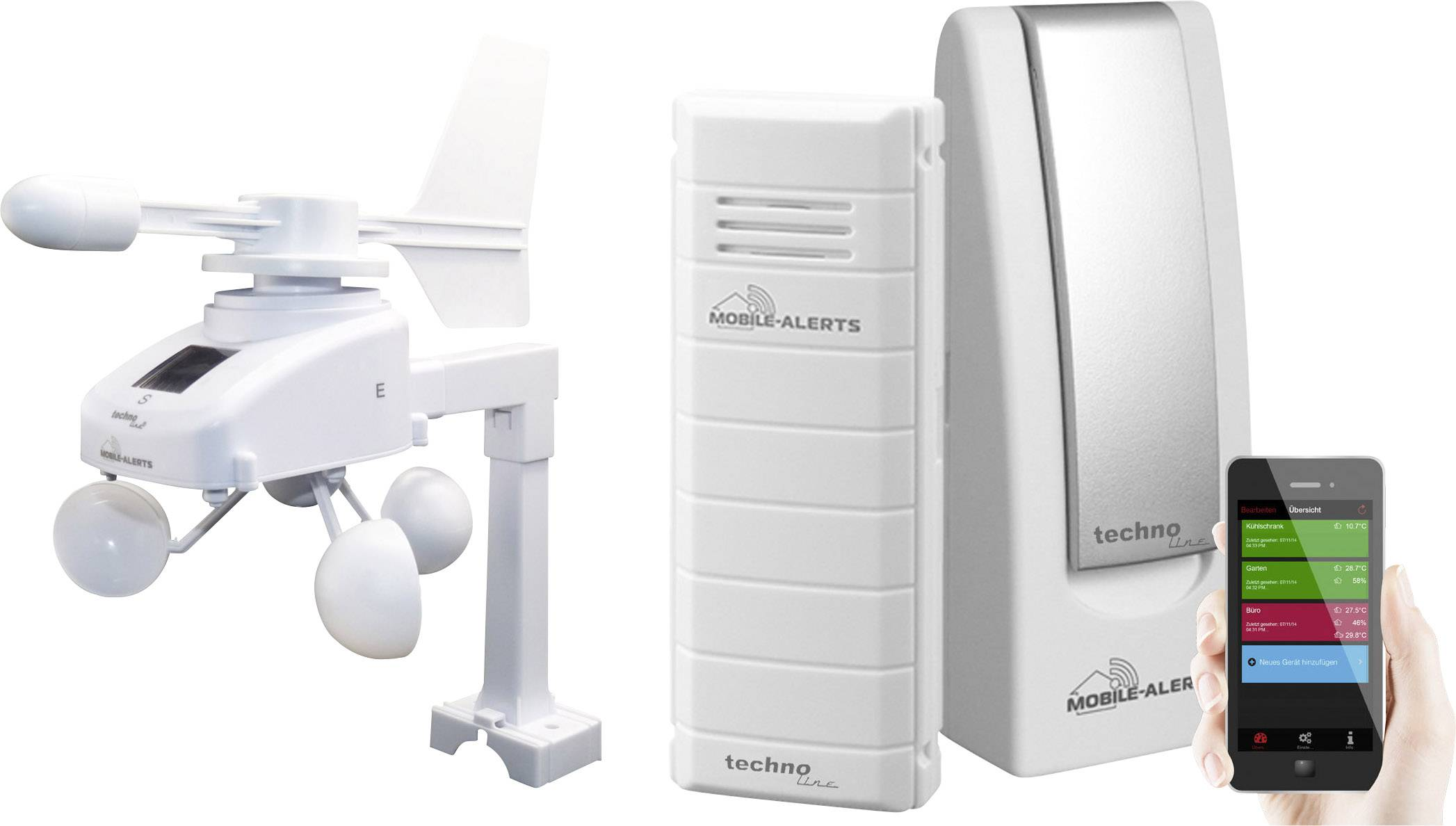 Digitálna bezdrôtová meteostanica Techno Line Mobile Alerts MA 10045, Max. dosah 100 m, biela