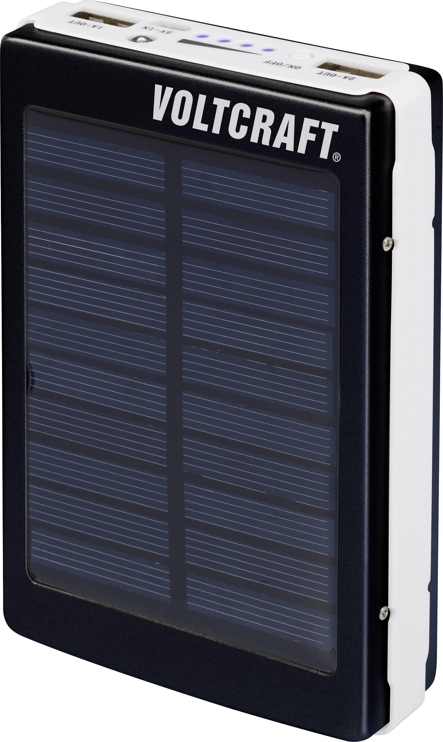 Solárna powerbanka s LED svetlom VOLTCRAFT PB-21, 13000 mAh, čiernobiela