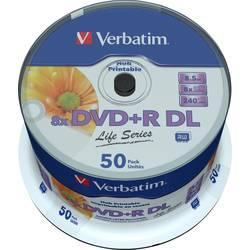 DVD+R DL 8.5 GB Verbatim 97693, s potiskem, 50 ks, vřeteno