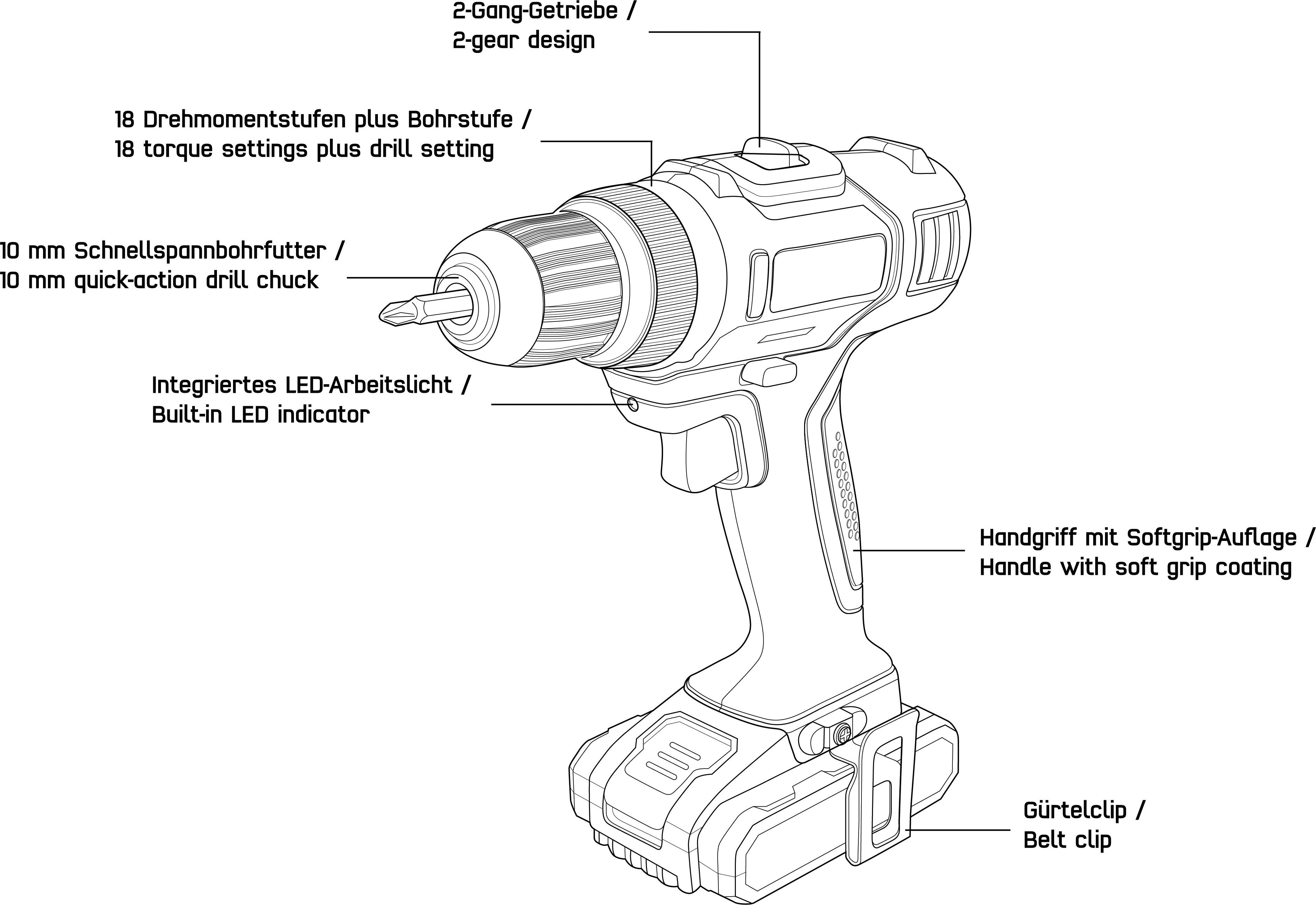 Aku vrtací šroubovák TOOLCRAFT DD 18, 18 V, 2 Ah Li-Ion akumulátor, akumulátor, kufřík