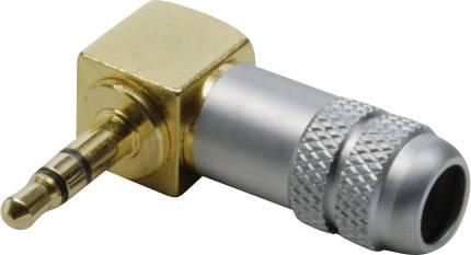 Jack konektor 3.5 mm BKL Electronic 1103084 zástrčka, zahnutá, Počet pinov: 3, stereo, zlatá, pozlátená, 1 ks