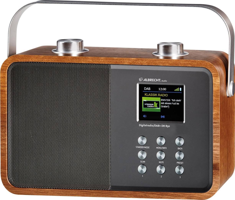 Digitálne DAB+ rádio Albrecht DR 850 AUX, Bluetooth, drevo, strieborná