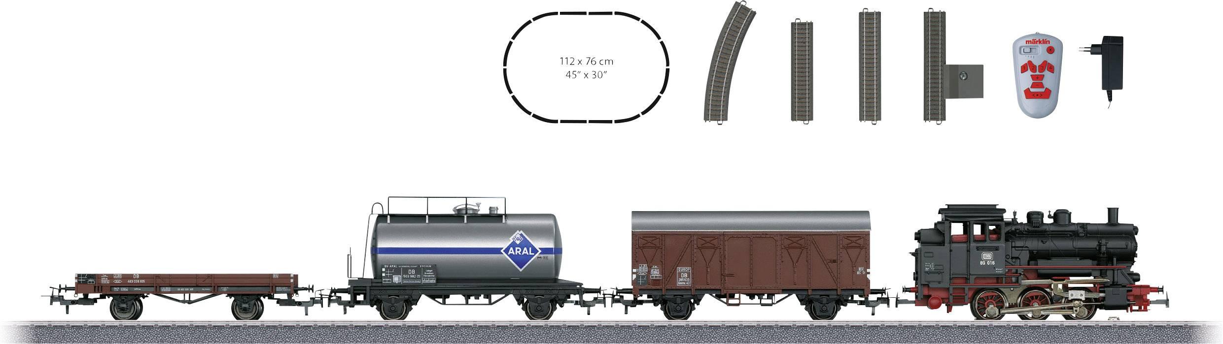 Nákladný vlak s vagónmi a parnou lokomotívou Märklin Start up 29323