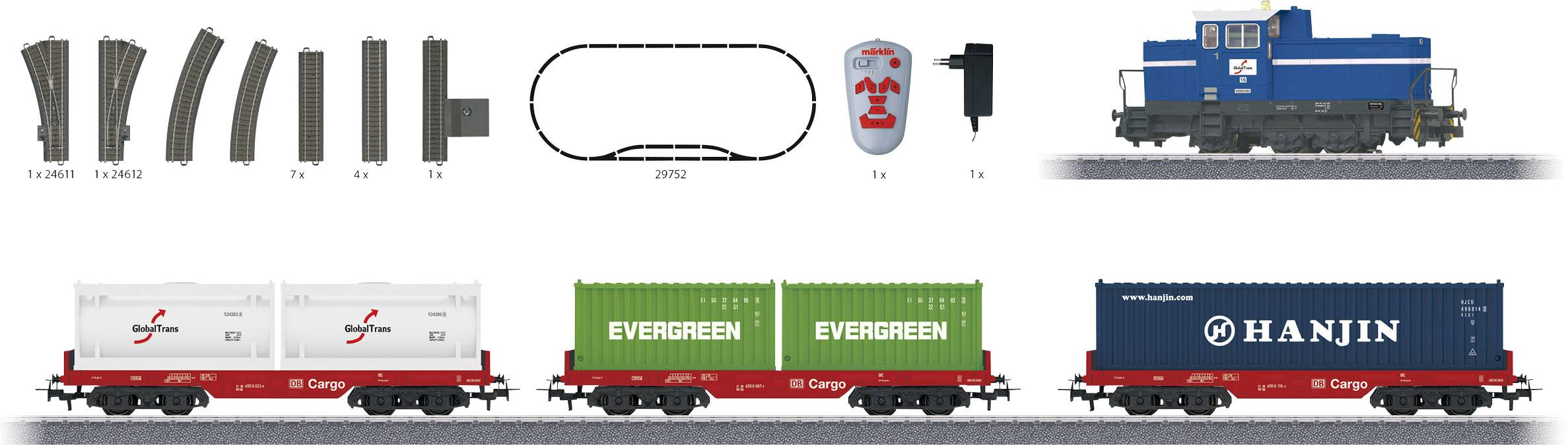 Nákladný vlak s kontajnerovými vagónmi a dieselovou lokomotívou Märklin Start up 29452