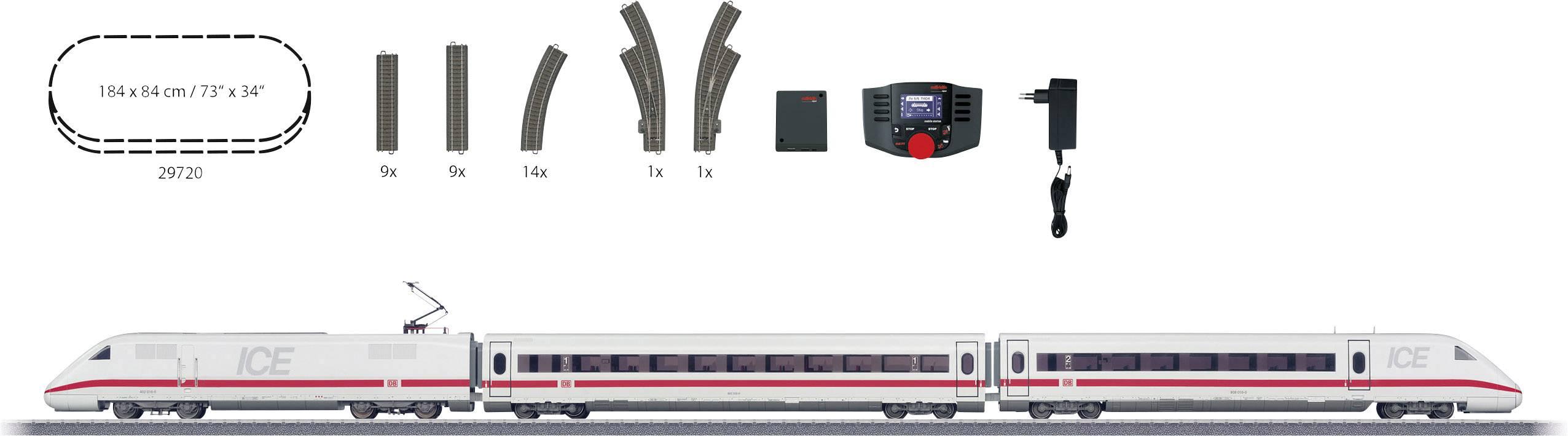 H0 startovací sada s vlakovou soupravou ICE 2 od DB AG Märklin 29792