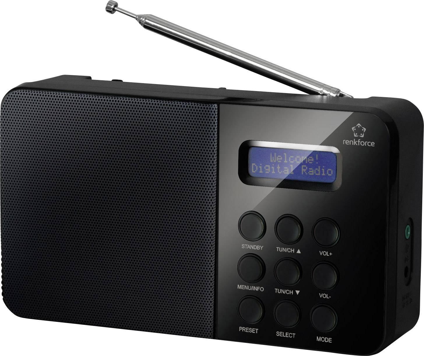 DAB+, FM prenosné rádio Renkforce NE-6208 , DAB+, UKW, čierna