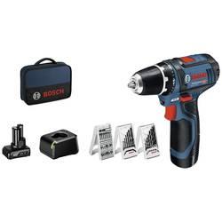 Aku vrtací šroubovák Bosch Professional GSR 12V-15, 12 V, 2 Ah Li-Ion akumulátor, 2 akumulátory, vč. příslušenství, taška