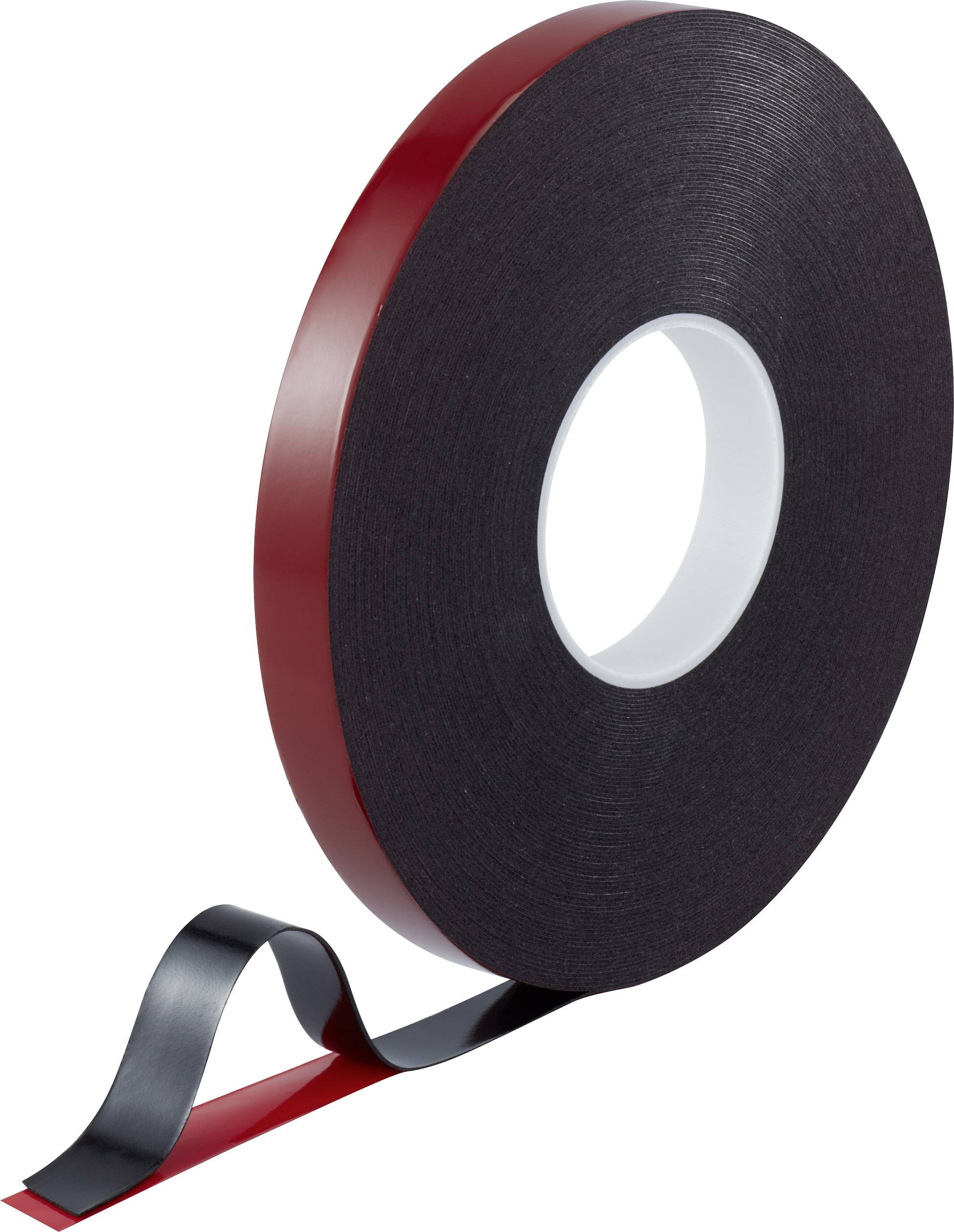 Oboustranná lepicí páska TOOLCRAFT (d x š) 30 m x 20 mm akryl červená/černá, 1 role