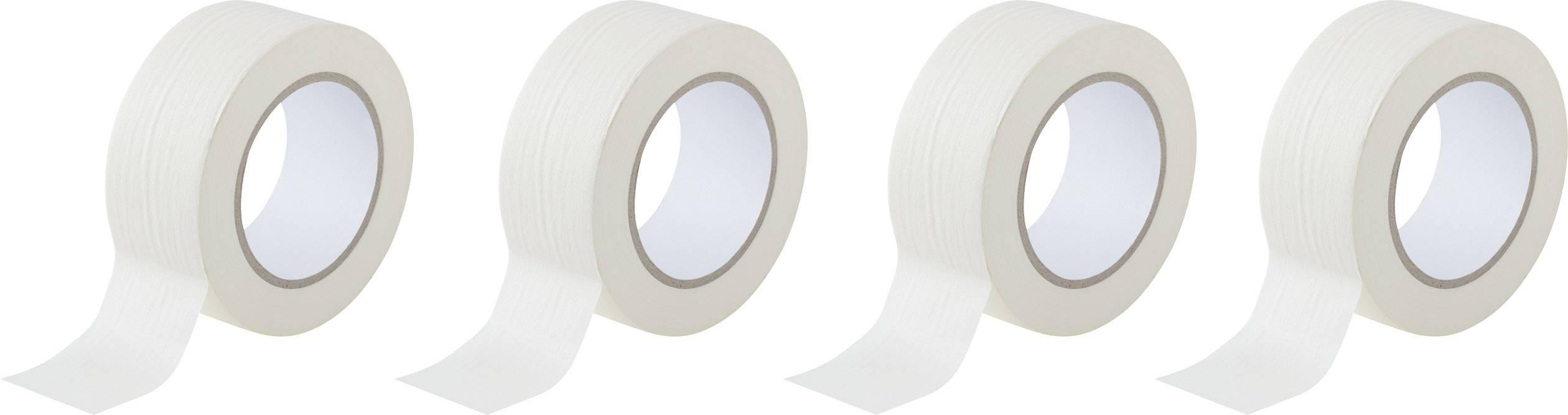 Krepová lepiaca páska TOOLCRAFT 93038c191 93038c191, (d x š) 50 m x 50 mm, biela, 4 roliek