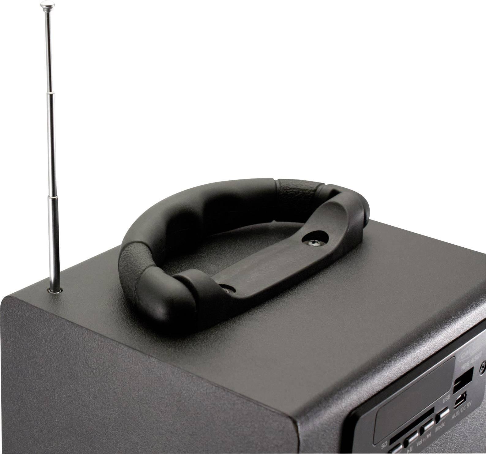 Prenosný bluetooth reproduktor s rádiom, prehráva z USB a pamäťových kariet, diaľkový ovladač, čierna 280 mm