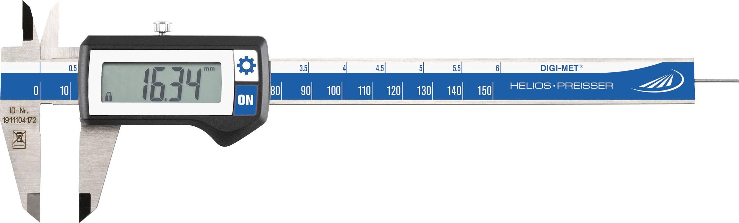 Digitální posuvné měřítko HELIOS PREISSER DIGI-MET 1320416, měřicí rozsah 150 mm, Kalibrováno dle bez certifikátu
