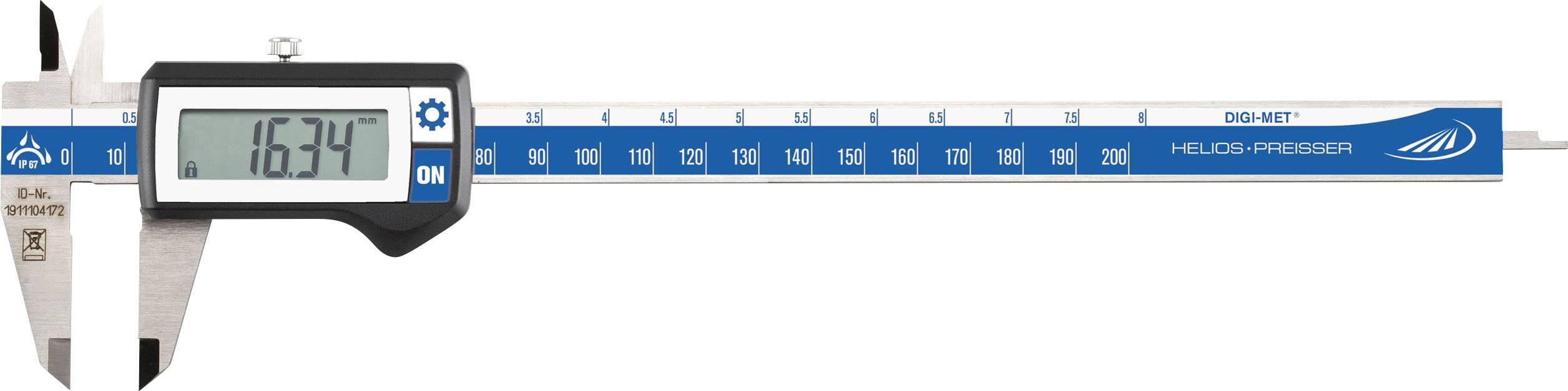 Digitální posuvné měřítko Helios Preisser DIGI-MET 1326418, měřicí rozsah 200 mm, Kalibrováno dle bez certifikátu