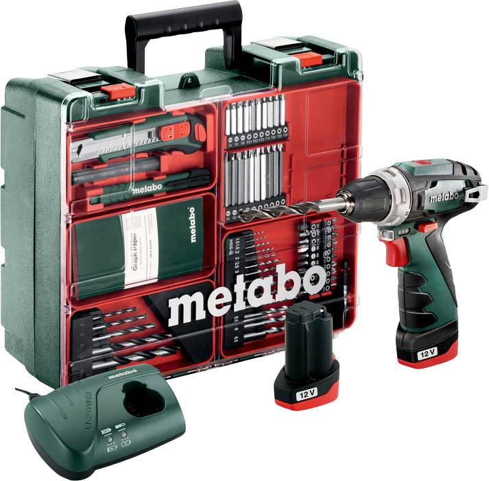 Aku vrtací šroubovák Metabo PowerMaxx BS 600080880, 10.8 V, 2 Ah, Li-Ion akumulátor