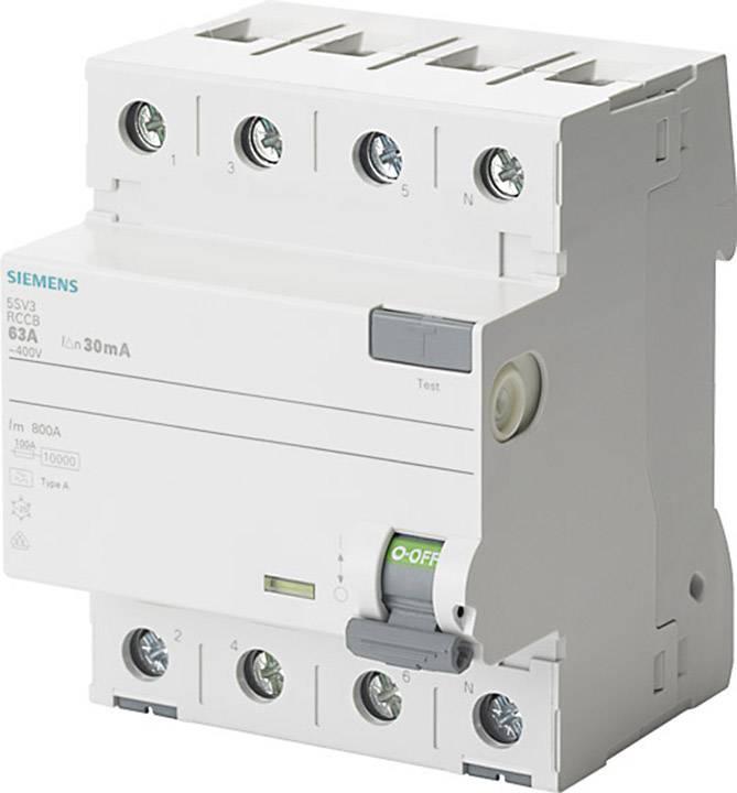 Proudový chránič Siemens 5SV3346-6KK01, 4pólový, 63 A, 0.03 A, 400 V