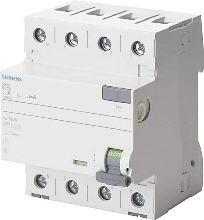 Prúdový chránič Siemens 5SV3344-6KL, 4-pólové, 40 A, 0.03 A, 400 V