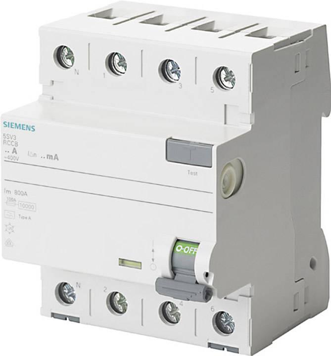 Proudový chránič Siemens 5SV3346-6KL, 4pólový, 63 A, 0.03 A, 400 V