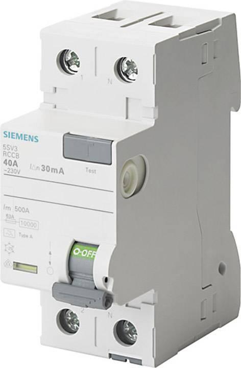 Proudový chránič Siemens 5SV3414-6, 2pólový, 40 A, 0.1 A, 230 V