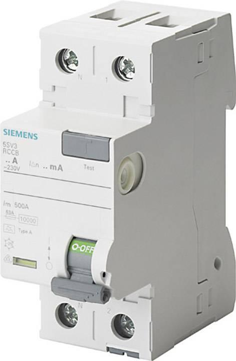 Proudový chránič Siemens 5SV3416-6KL, 2pólový, 63 A, 0.1 A, 230 V