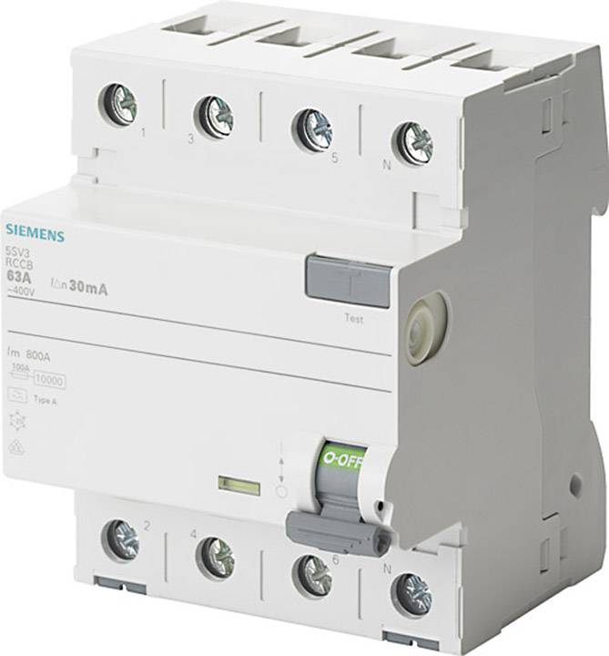 Proudový chránič Siemens 5SV3646-6 63 A 0.3 A 400 V 4pólový