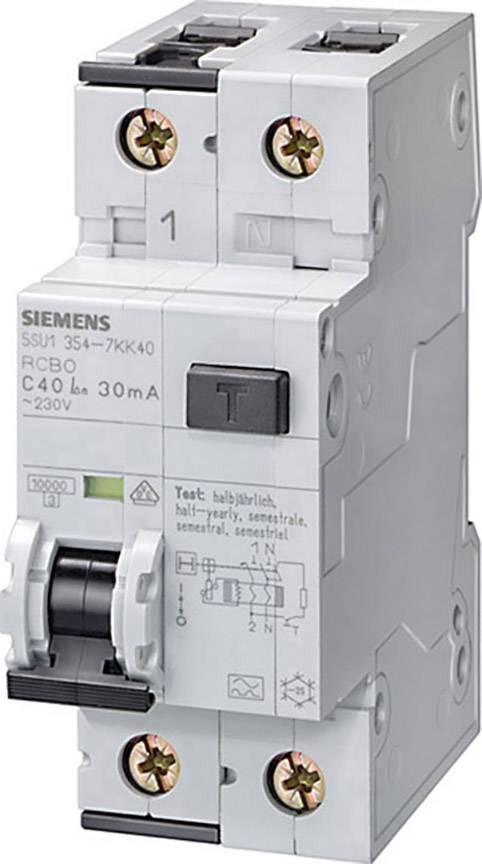 Proudový chránič/elektrický jistič Siemens 5SU1354-7KK10, 2pólový, 10 A, 0.03 A, 230 V