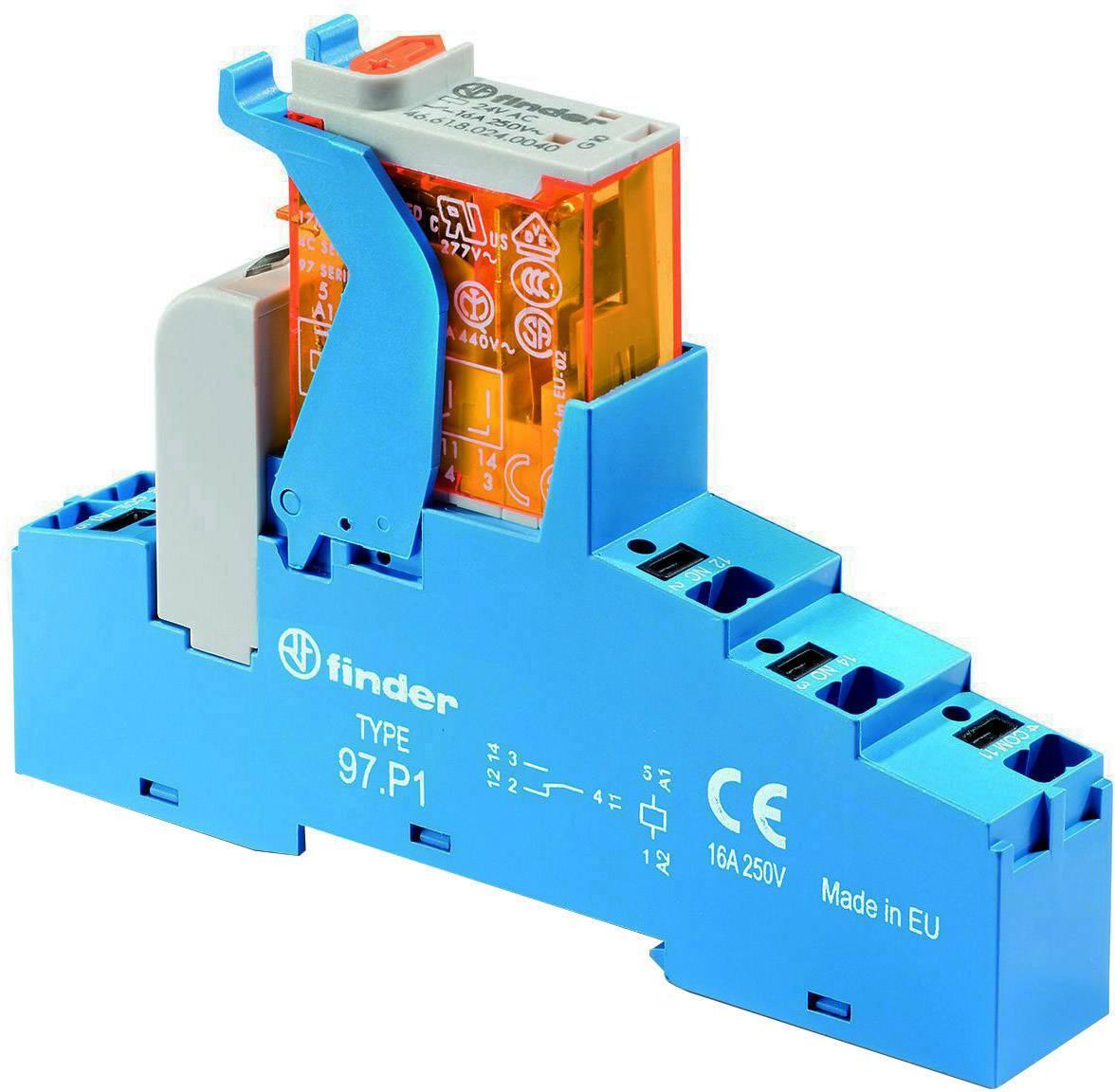 Vazební relé Finder řady 4C se svorkami Push-In Finder 4C.P1.9.024.0050, 24 V/DC, 16 A, 1 přepínací kontakt