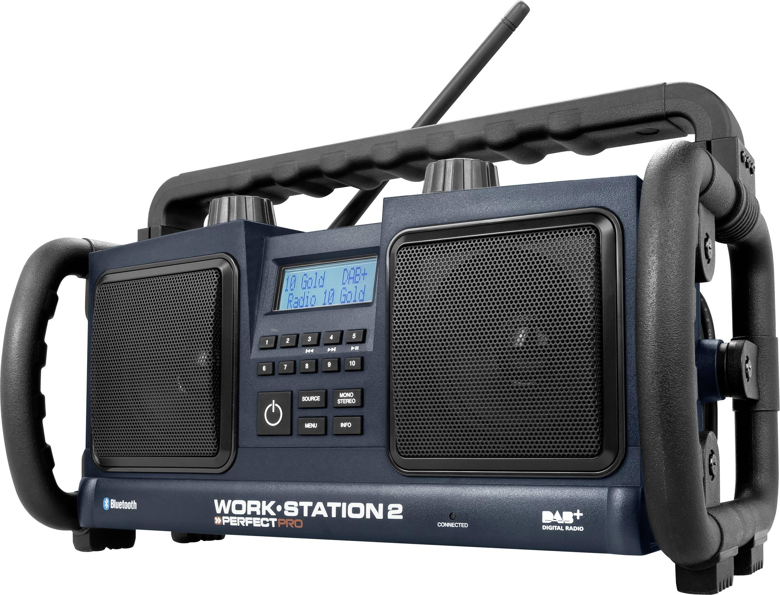 DAB+ outdoorové rádio PerfectPro Workstation 2 AUX, Bluetooth, DAB+, FM, černá