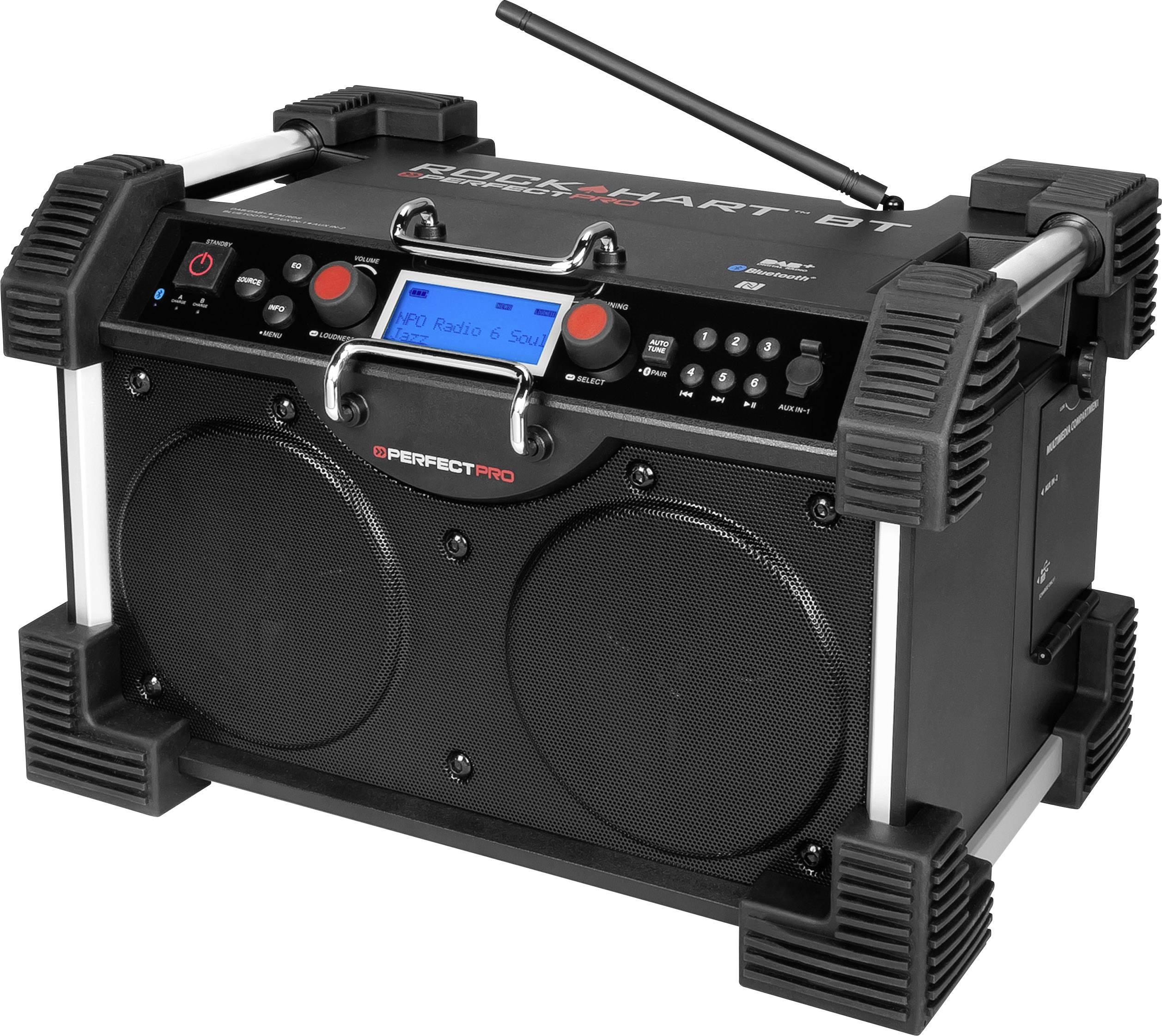 DAB+ rádio na stavbu PerfectPro Rockhart BT AUX, Bluetooth čierna