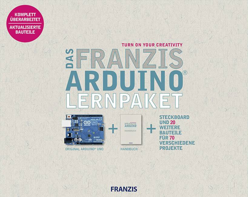 Výukový balíček Franzis Verlag Franzis Arduino™ Lernpaket 978-3-645-65327-5, ATMega328, USB, zásuvková lišta