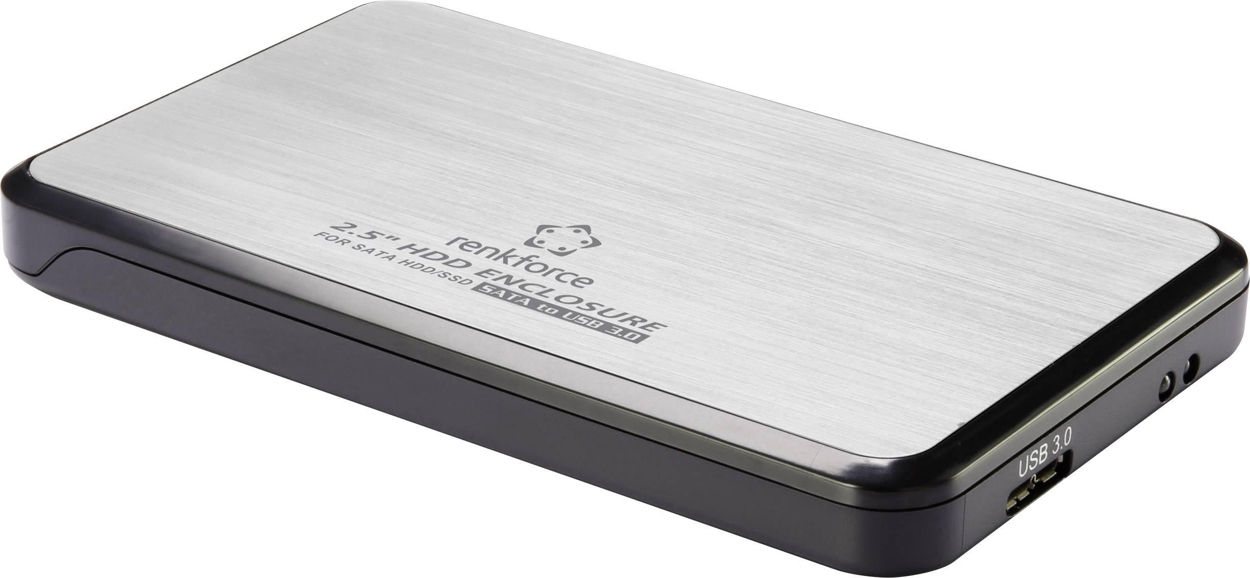 """Puzdro na pevný disk SATA 2.5 """" Renkforce RF-4271223, USB 3.0, strieborná"""