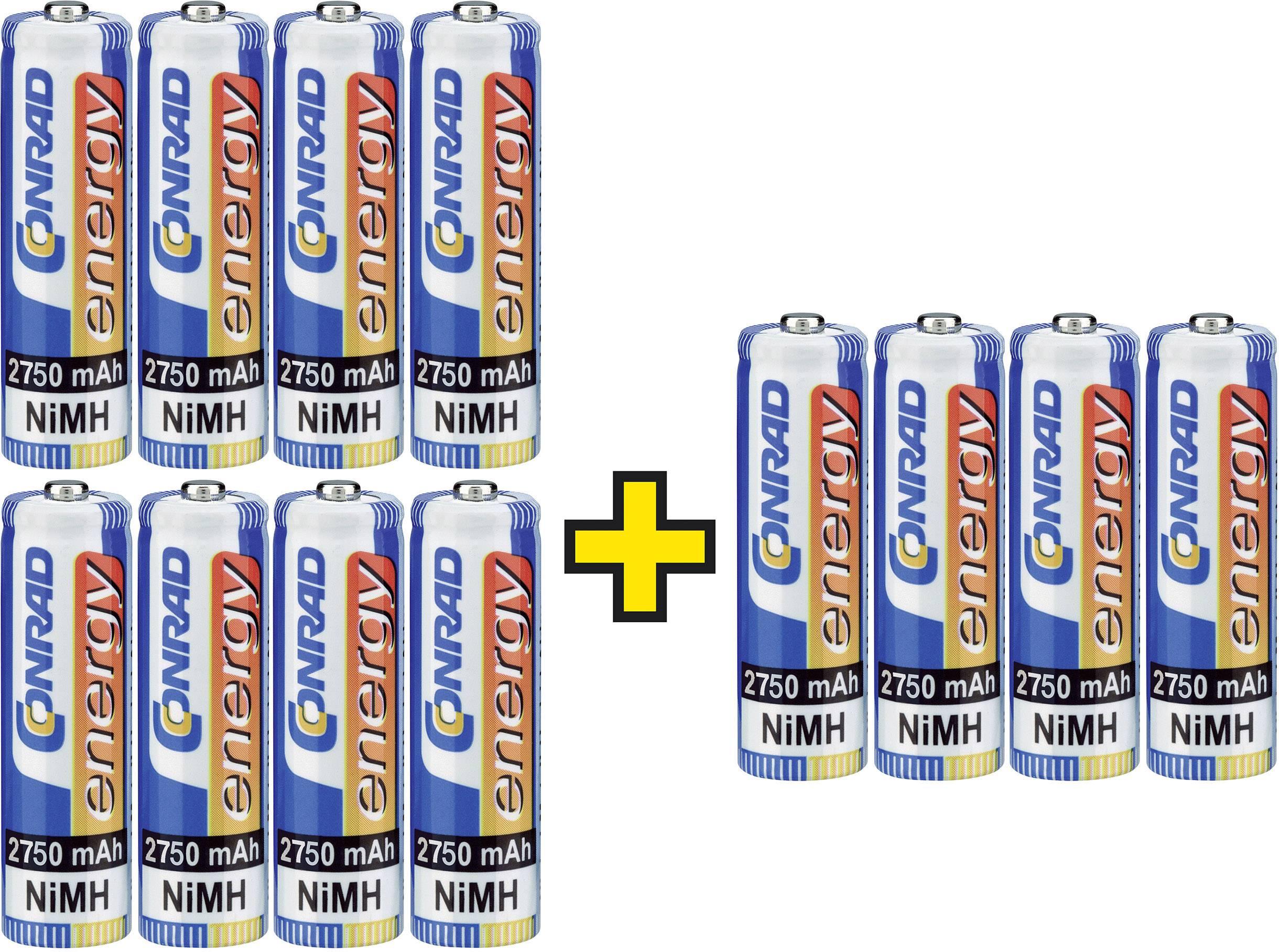 Tužkový akumulátor typu AA NiMH Conrad energy HR06 2 balenia + 1 zdarma 2750 mAh, 1.2 V, 12 ks