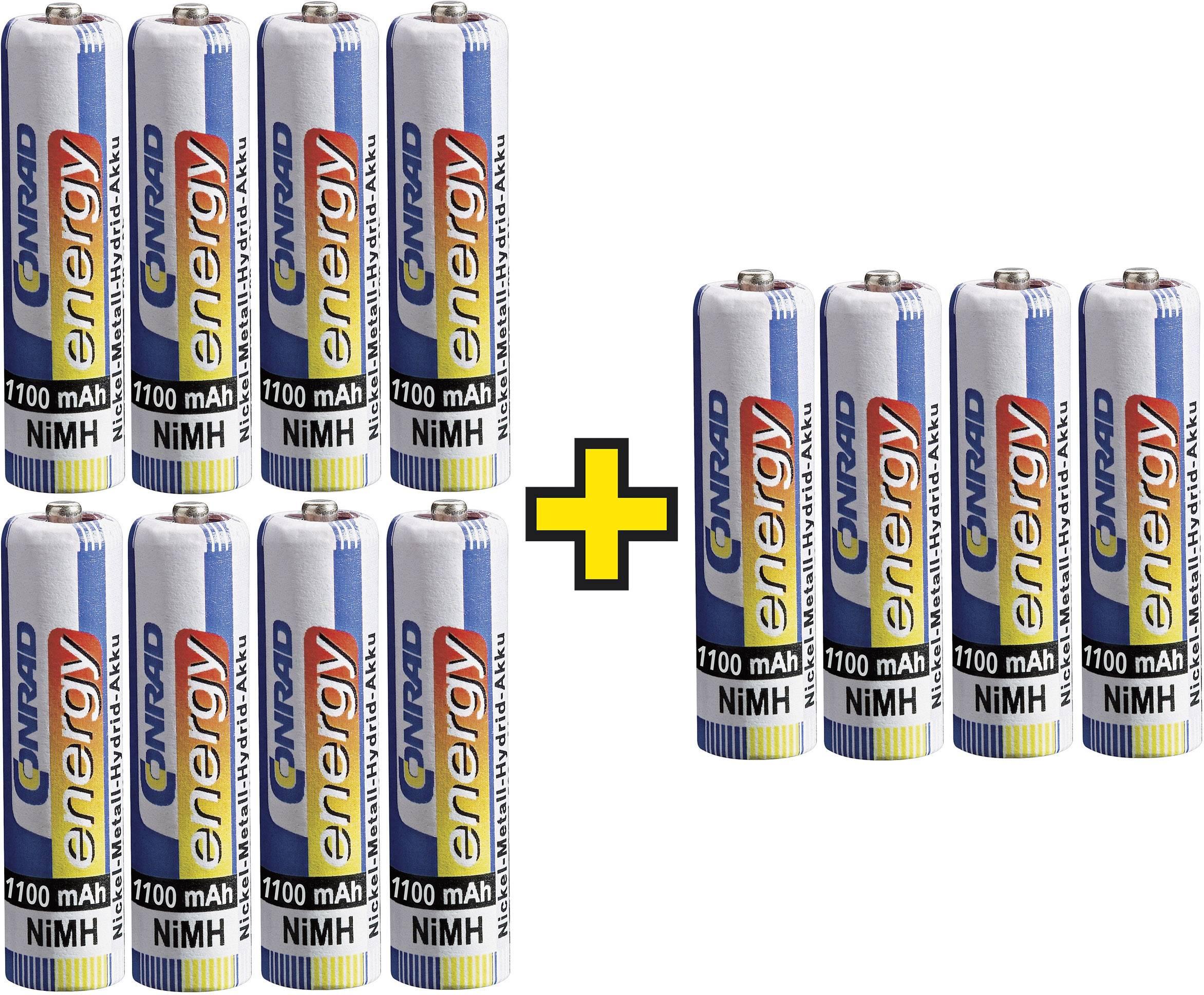 Akumulátory Conrad energy AAA 1,2 V / 1100 mAh, 12 ks