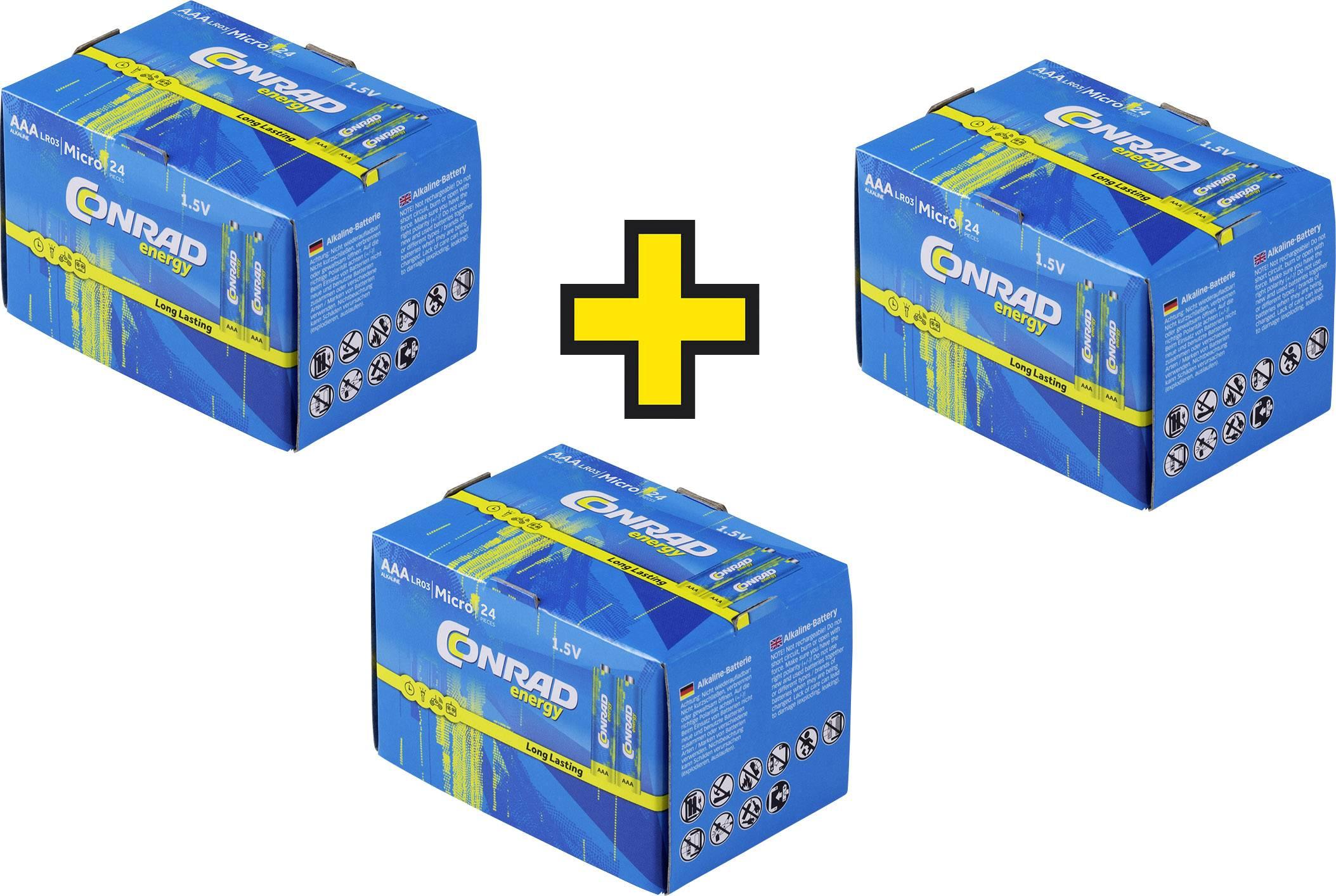 Mikrotužková baterie AAA alkalicko-manganová Conrad energy LR03, Kauf 3 Sets - zahl 2,, 1.5 V, 72 ks