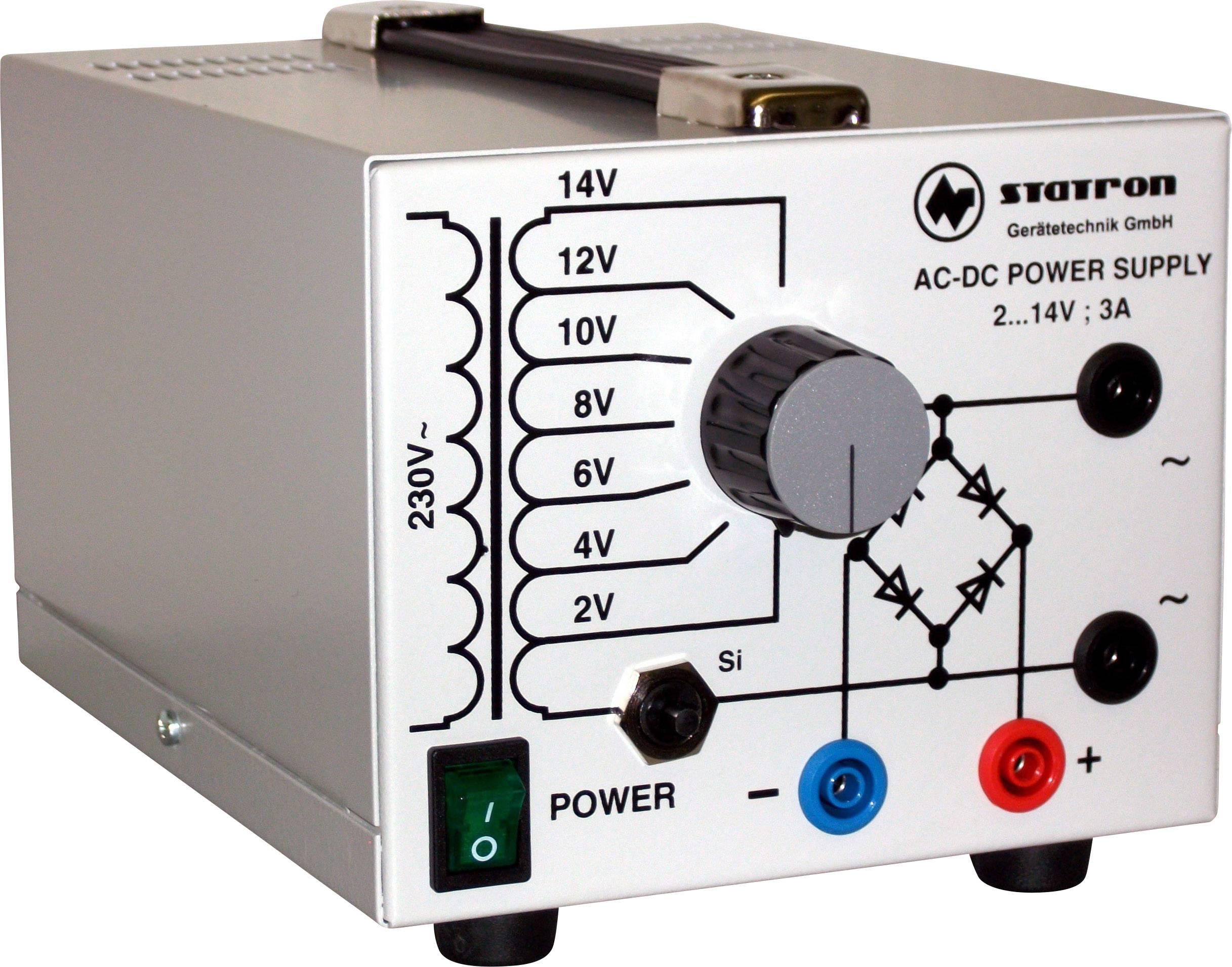 Laboratorní zdroj s nastavitelným napětím Statron 5359.0, 2 - 14 V, 3 A, 42 W