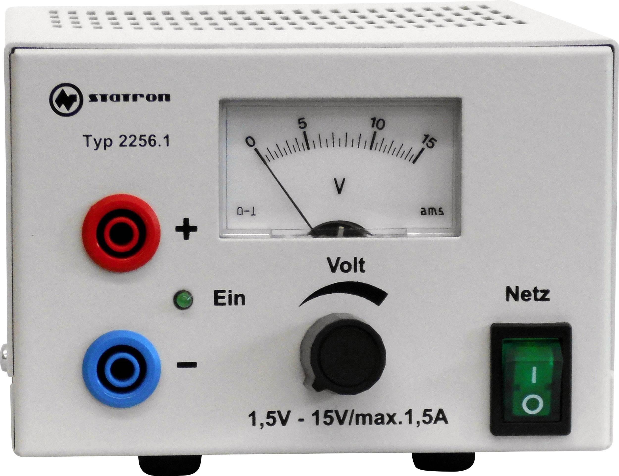 Laboratorní zdroj s nastavitelným napětím Statron 2256.1, 1.5 - 15 V, 1.5 A, 40 W