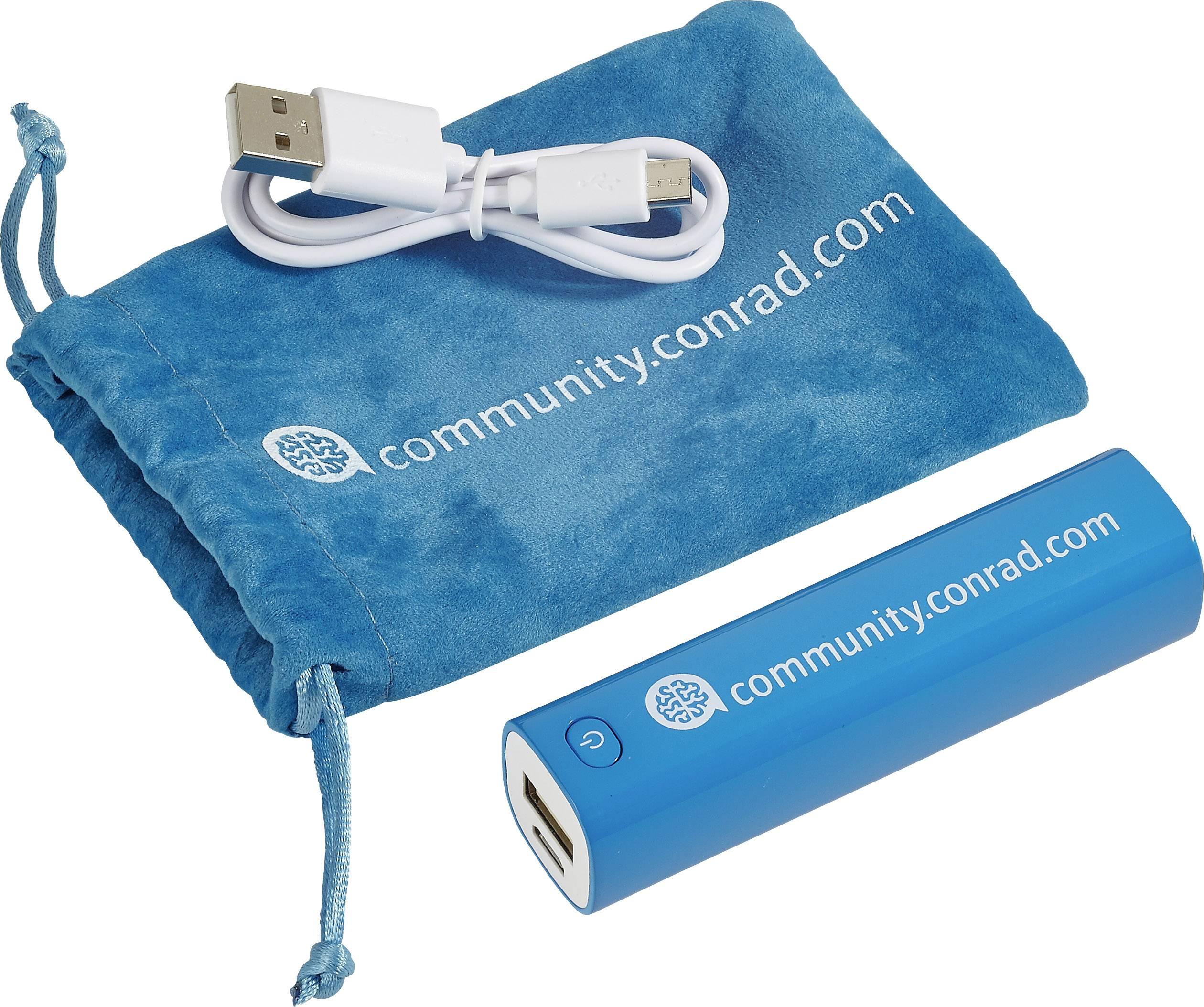 Powerbanka VOLTCRAFT Conrad community, Li-Ion akumulátor 2600 mAh, azúrová