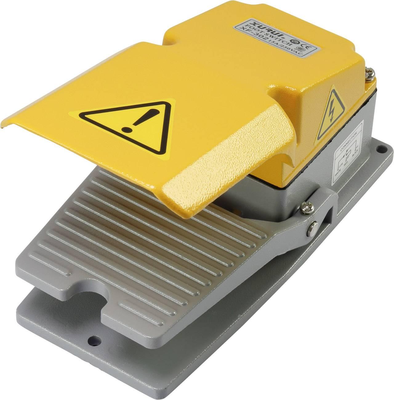 Nožní/ruční tlačítko s ochranným krytem TRU COMPONENTS XF-302, 250 V/AC, 15 A, 1 spínací kontakt, 1 ks
