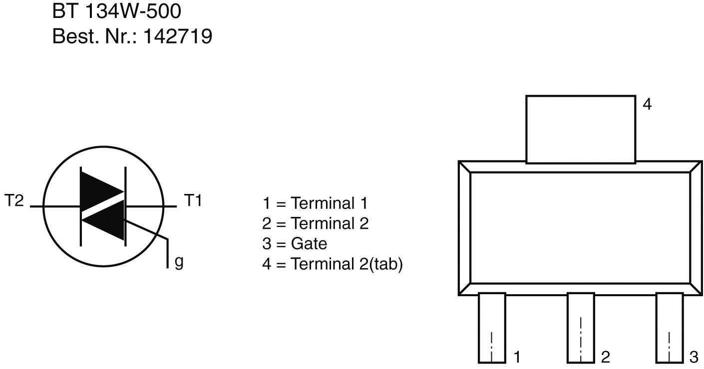 Triak SMD BT 134 W-500=600SMT