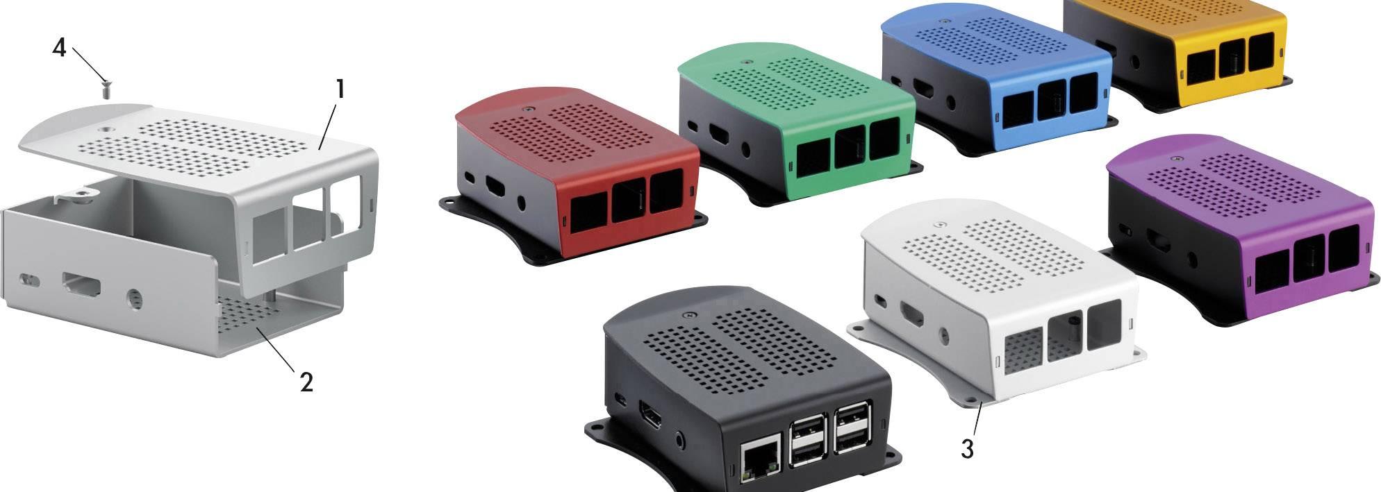 Kryt pro Raspberry Pi® Fischer Elektronik 10135288, modrá, černá