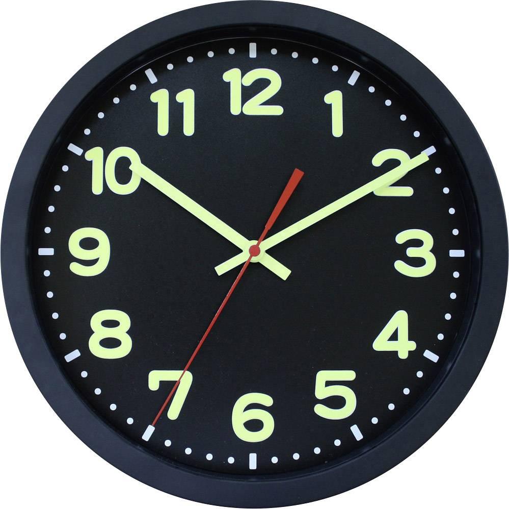 DCF nástenné hodiny EuroTime Funkwanduhr 30cm, schwarz, 12-Zahlen-ZB mit Leuchtziffern, Leuchtzeiger, 53861-05, Ø 30 cm, čierna