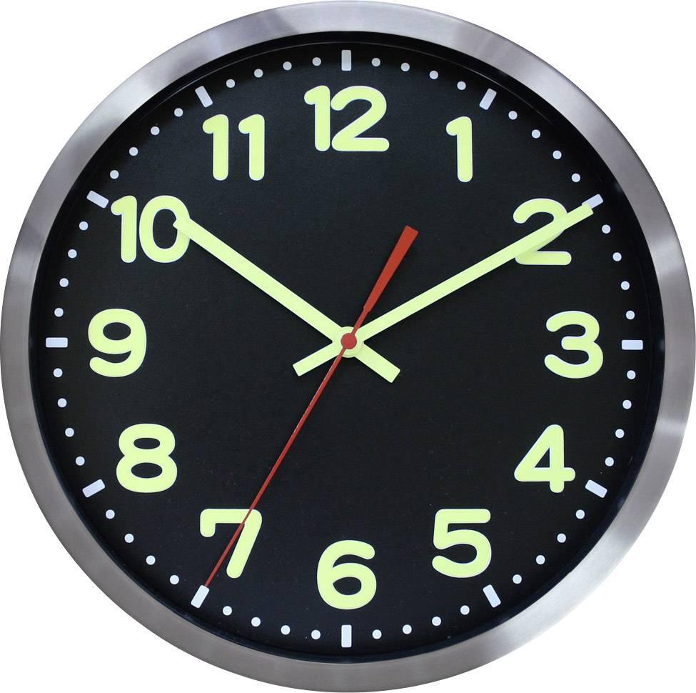 DCF nástenné hodiny EUROTIME Funk-Wanduhr Leuchtziffern-/zeiger Alu 59861-07, vonkajší Ø 30 cm, hliník
