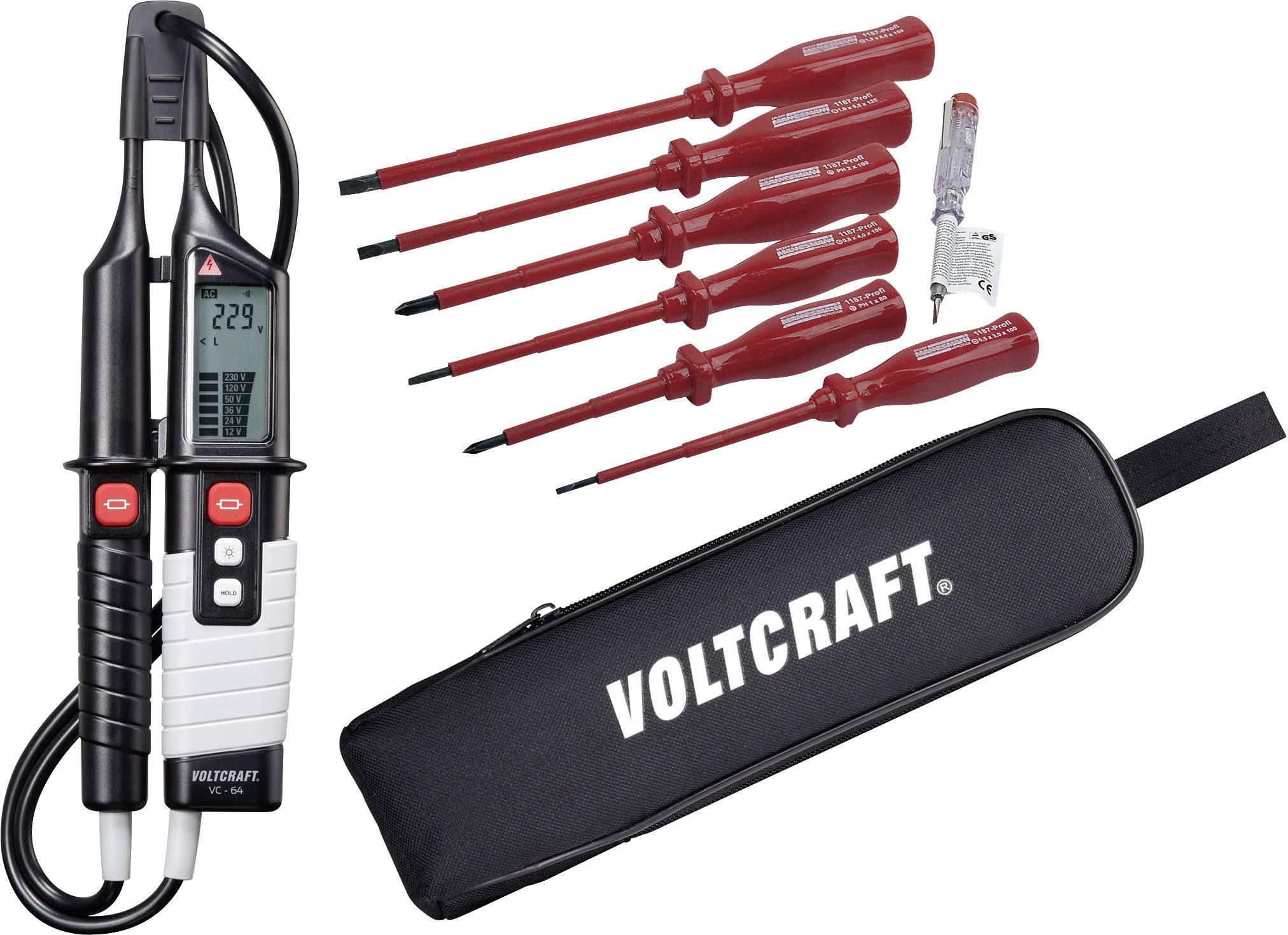 Dvoupólová zkoušečka napětí VOLTCRAFT VC 64 + sada VDE šroubováků + pouzdro Voltcraft