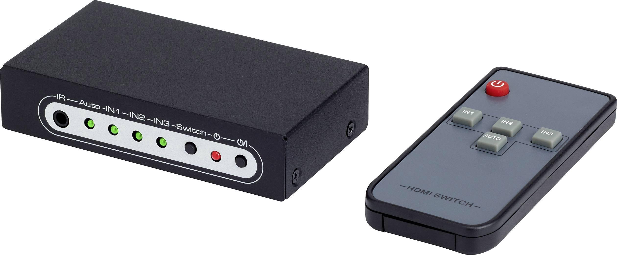 HDMI přepínač SpeaKa Professional, 3 porty, s dálkovým ovládáním, UHD N/A