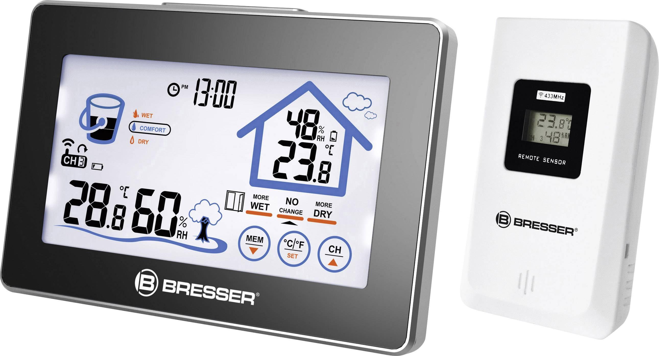 Teploměr a vlhkoměr Bresser Optik 7007400 s indikací větrání, černá, stříbrná
