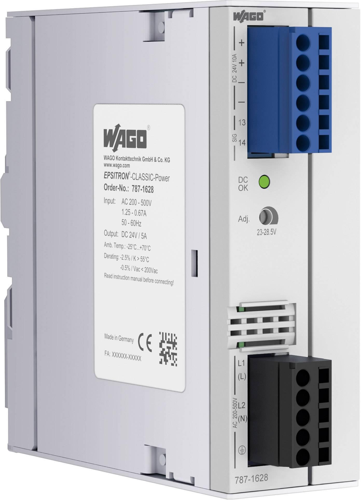 Sieťový zdroj na montážnu lištu (DIN lištu) WAGO 787-1628, 1 x, 24 V, 5 A, 120 W