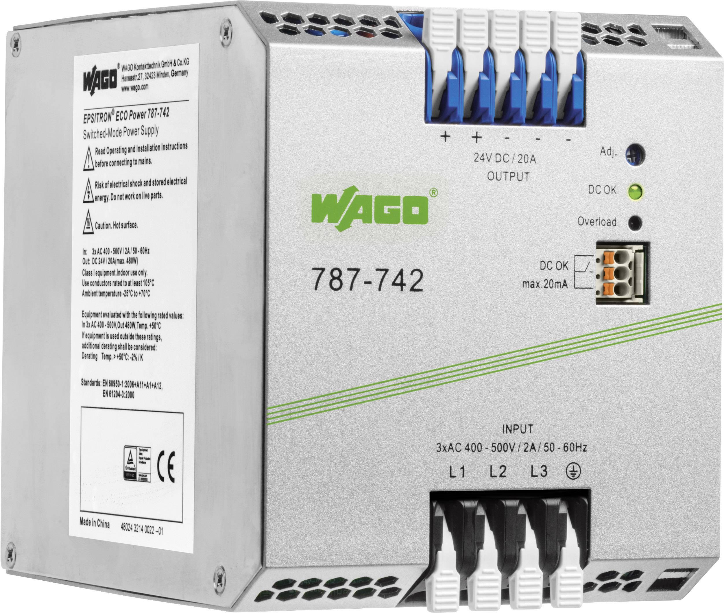 Sieťový zdroj na montážnu lištu (DIN lištu) WAGO 787-742 24 V 20 A 480 W