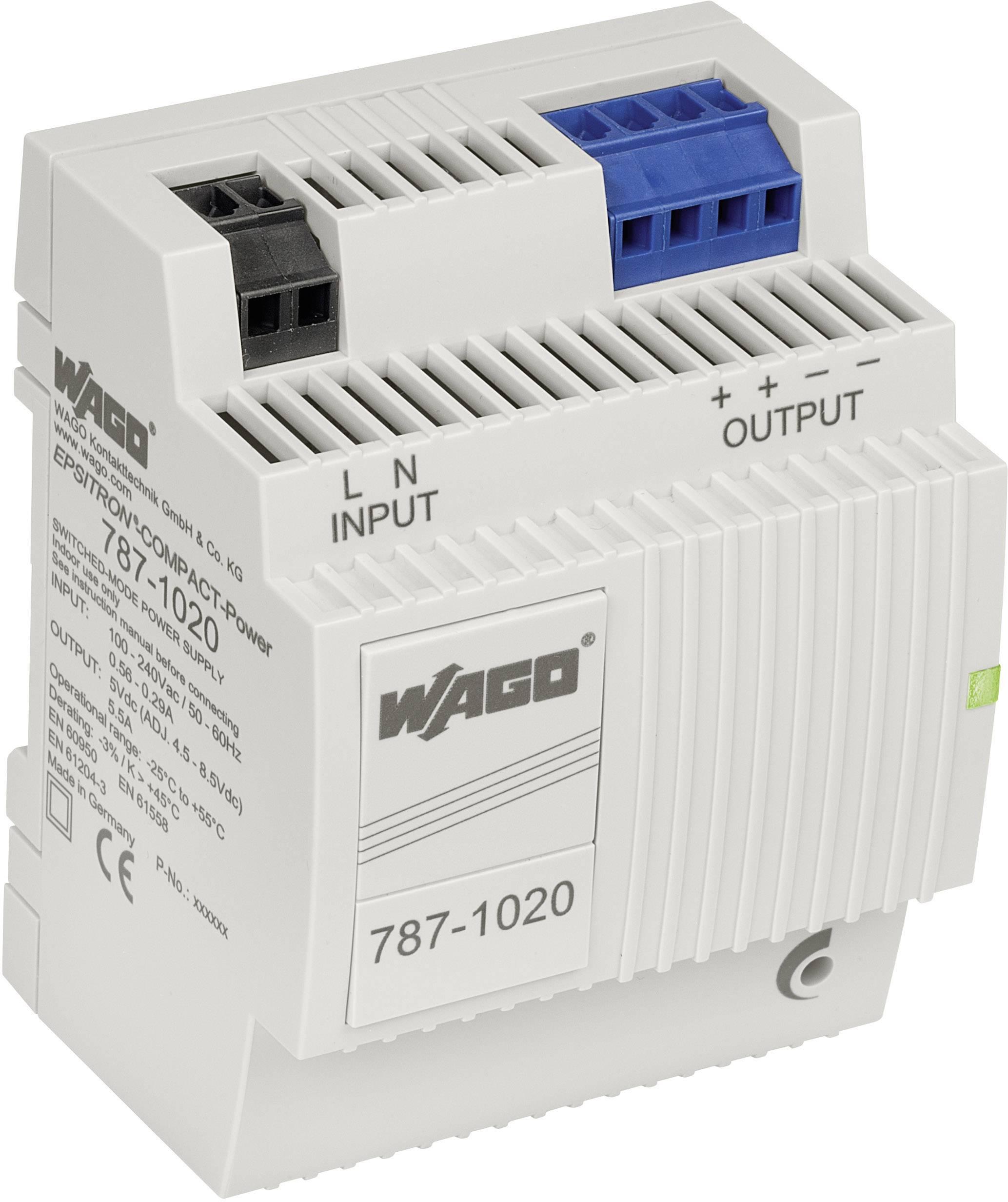 Síťový zdroj na DIN lištu WAGO 787-1020, 1 x, 5 V, 5.5 A, 27.5 W